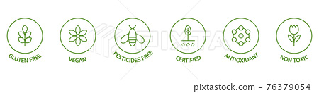 Natural cosmetic icons. Skincare logo. Pesticides free, vegan, bio, non toxic, certified labels. Beauty badges. GMO free emblems. Organic cosmetic line art stickers. Healthy food. Vector illustration 76379054