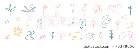 Cute cover design elements. Hand drawn line art floral shapes. Abstract form background. Organic shapes. Social media minimal stylish templates. Kids doodle room decoration. Vector illustration 76379056