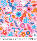 Birds flowers seamless vector pattern. Cute repeating background modern abstract tropical birds and 76379939