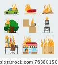 Fire risk icons 76380150