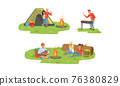 Cheerful People Characters at Campfire and Tent Playing Guitar and Frying Shashlik Vector Illustration Set 76380829