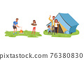 Cheerful People Characters Frying Marshmallow at Campfire and Putting Up Tent Laughing Vector Illustration Set 76380830