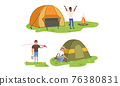 Cheerful Man Character Putting up Tent at Campfire and Fishing Vector Set 76380831