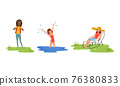 Young Woman Splashing in the Water and Hiking with Backpack Enjoying Camping Activity Vector Set 76380833