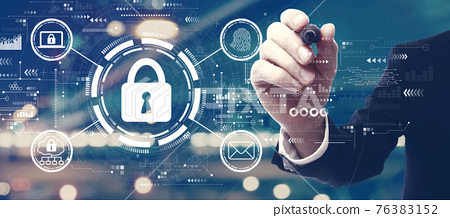 Internet network security concept with a man on city background 76383152
