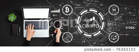 Crypto Trading theme with person using laptop computer 76383153