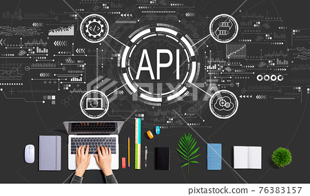 API - application programming interface concept with person using a laptop 76383157