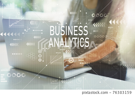 Business analytics with woman 76383159
