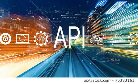 API - application programming interface concept with high speed motion blur 76383163