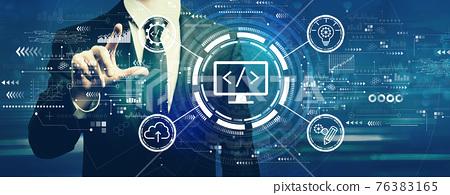 Web development concept with businessman 76383165