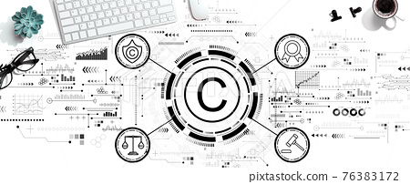 Copyright concept with a computer keyboard 76383172