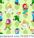 The pattern of the children are playing with the muslim outfit 76385779