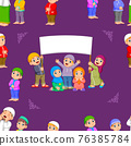 The pattern of the children are standing and holding the blank banner 76385784