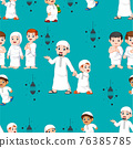 The pattern set of the children with their friends or parent with the muslim outfit 76385785
