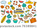 Hello summer collection set design on white background. Summer  symbols and objects colorful. 76389841