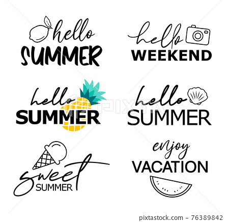 Hello summer hand drawn lettering set. Summer typography for design t-shirt, mug, greeting card. 76389842