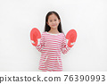 Portrait of Asian little child with concept red boxing gloves isolated on white background 76390993