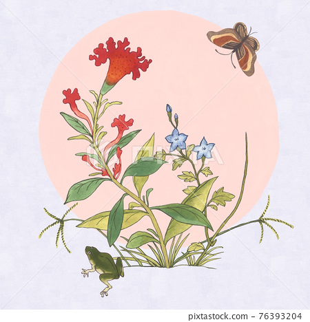 asian drawing with frog, flowers and butterfly 76393204