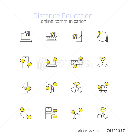 stay at home online education icon set 76393357