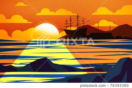 new year, sunrise scenery illustration 76393360