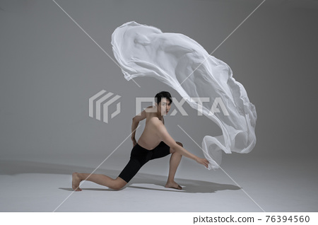 male and female couple modern contemporary dancers making moves in white background setting 76394560