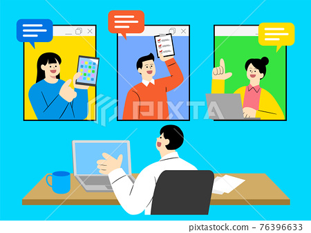 new normal, untact business work concept illustration 76396633