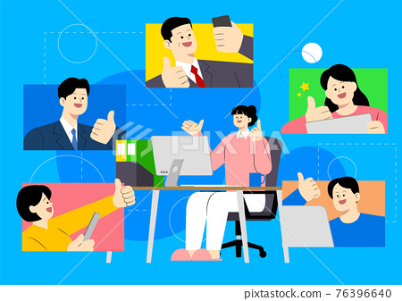 new normal, untact business work concept illustration 76396640