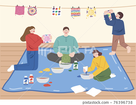 play and stay at home with family illustration series 76396738