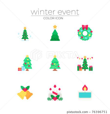 winter holiday and Christmas season concept icons 76396751