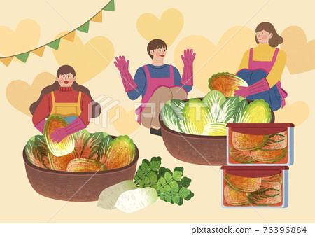 fun donation activity for society, making Kimchi together 76396884