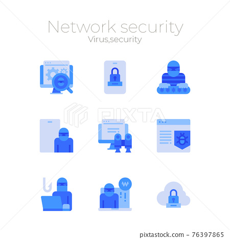 network security icon sets, virus, spam and data protection concept 76397865