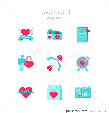love events icon set 76397894