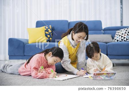 Asian children babysitter, daycare concept 76398650