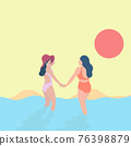 two women holding hand on the beach sunset in pastel color illustration vector. LGBT conecpt. 76398879