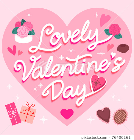 happy valentines day lettering 76400161