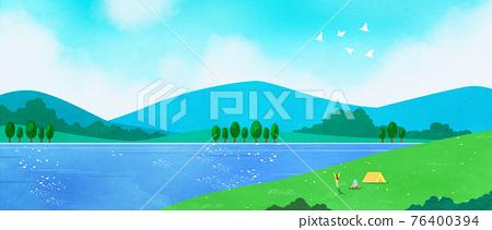 beautiful lake background 76400394