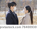 Asian couple with face masks 76400930