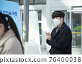 Asian man and woman sanitizing hands, train station 76400938