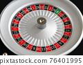 Casino roulette wheel close up view 76401995