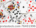 Classic playing card game laid out on a table 76401996