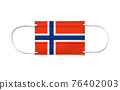 Flag of Norway on a disposable surgical mask. White background 76402003