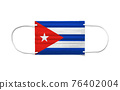 Flag of Cuba on a disposable surgical mask. White background 76402004