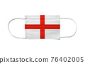 Flag of England on a disposable surgical mask. White background 76402005