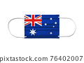 Flag of Australia on a disposable surgical mask. White background 76402007