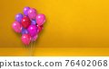 Pink balloons bunch on a yellow wall background. Horizontal banner. 76402068