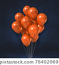 Orange balloons bunch on a black wall background 76402069