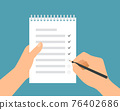 Flat design illustration of a man's hand holding a pencil filling out a to-do list in a workbook with a binder, vector 76402686