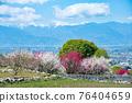 야마나시 현 봄의 도원 향 꽃 복숭아 원과 남 알프스 석가 당 PA 지역 76404659