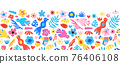 Seamless vector border cute Birds flowers. Cute repeating kids pattern modern abstract tropical 76406108