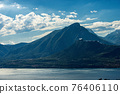 Aerial view of the Lake Garda and Italian Alps - Mountain Peak of Monte Pizzocolo 76406110